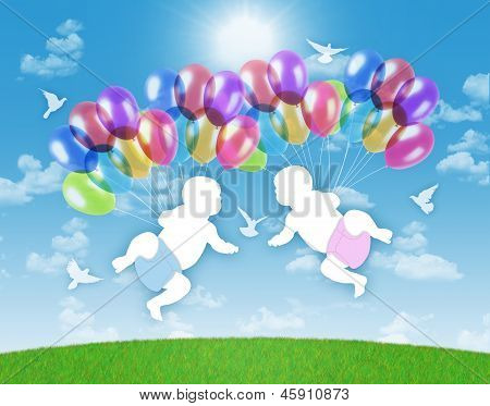 Newborn Twins Flying On Colorful Balloons In The Sky