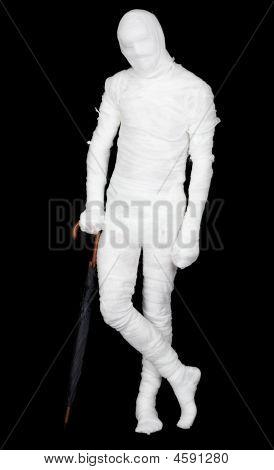 Man In Costume Mummy And Umbrella