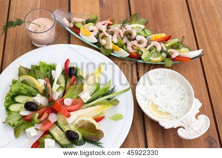 Greek Salad And Shrimp Cocktail