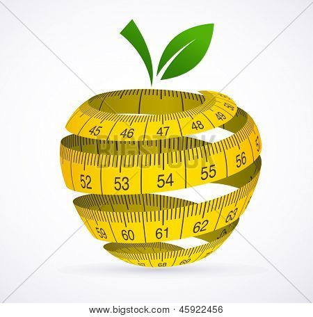 Apple and measuring tape, Diet symbol. Vector illustration