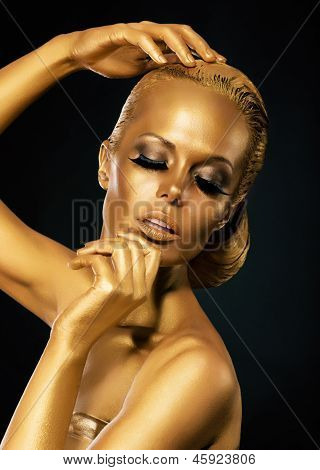 Glint. Coloring. Mysterious Woman With Golden Faceart. Creative Concept