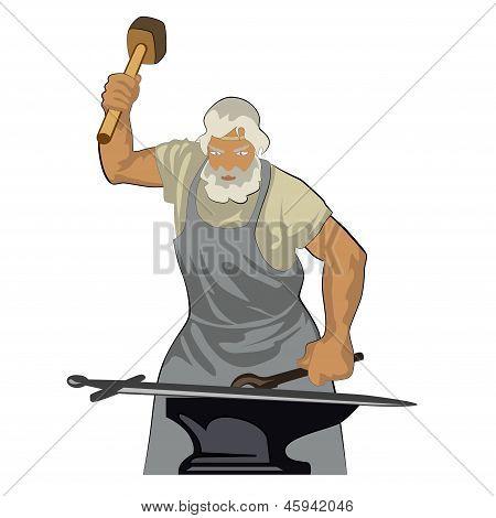 A blacksmith forges sword