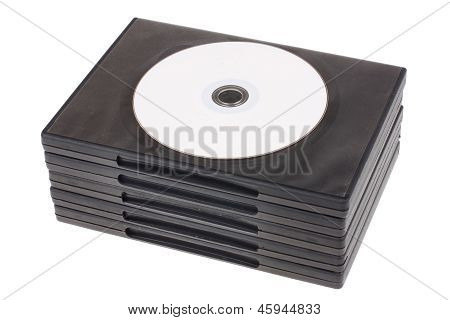 Cd Dvd Disk With Cd Dvd Boxes Isolated On White Background