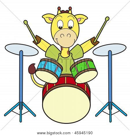 Cartoon Giraffe Playing Drums