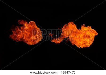 Fireballs On A Black Background