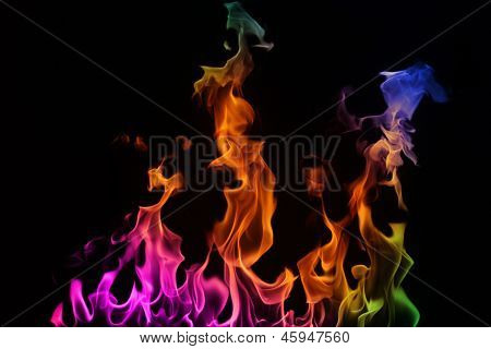 Multi-coloured Fire On A Black Background