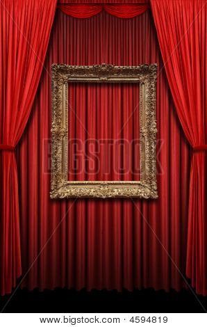Red Curtain With Vintage Gold Frame