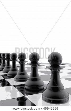 Chess Pawns In Single File