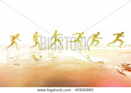 People Running Over The Sea