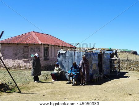 Unidentified family  in Sani Pass, Lesotho at altitude of 2,874 m
