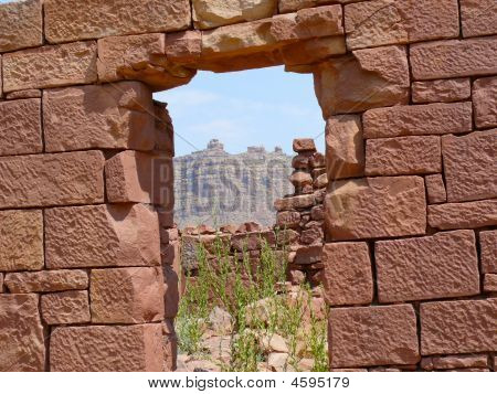 Hand Carved Red Brick Wall On Old Desert Homestead