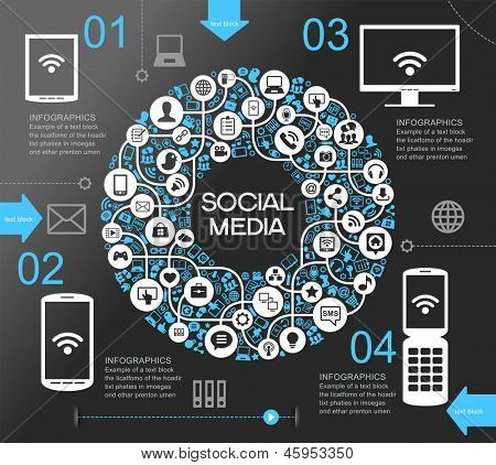 poster of A modern set of infographics and icons Social Media. Abstract infographics design with paper numbered labels - vector illustration. This work - eps10 vector file, contain transparent elements