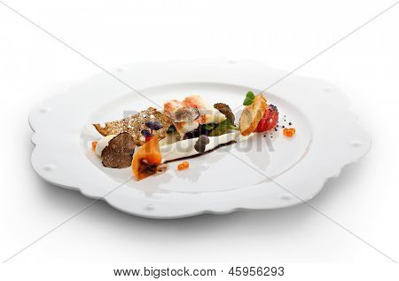 Salad with King Red Crab, Cream, Quail Eggs, Cherry Tomato and Truffle