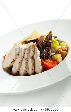 Caesar Salad with Chicken, Salad Leaf, Croutons, Cherry Tomato and Cheese
