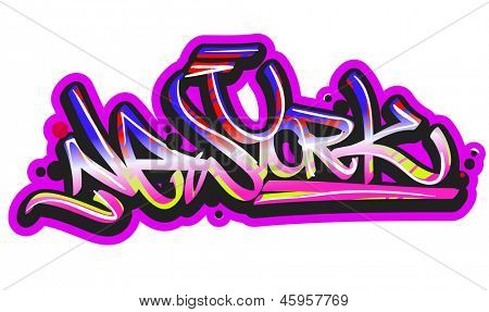 Graffiti vector art urban design element. New York word