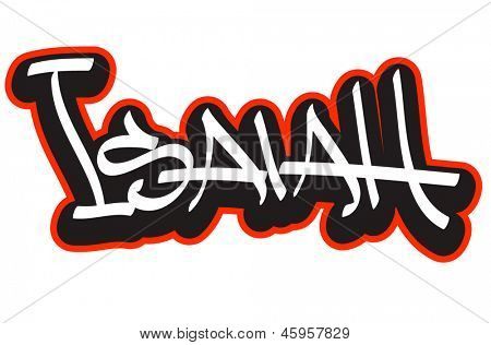Isaiah graffiti font style name. Hip-hop design template for t-shirt, sticker or badge