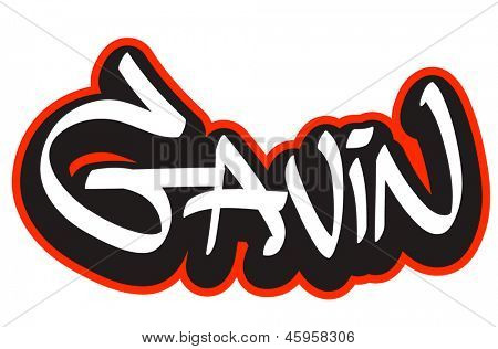Gavin graffiti font style name. Hip-hop design template for t-shirt, sticker or badge