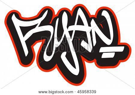 Ryan graffiti font vector photo free trial bigstock - Ryan name wallpaper ...