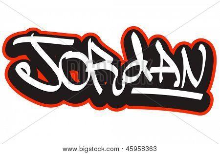 Jordan graffiti font style name. Hip-hop design template for t-shirt, sticker or badge poster