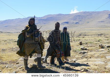 Unidentified men at Sani Pass, Lesotho at altitude of 2,874 m
