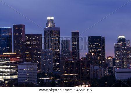 Los Angeles Skyline At Sunset