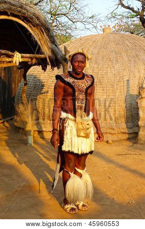 Zulu warrior in Shakaland Zulu Village, South Africa