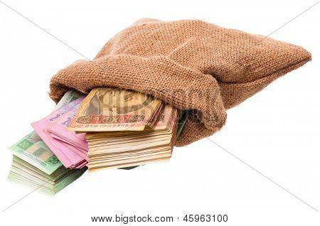 Full money bag with ukrainian hryvna, isolated on white background