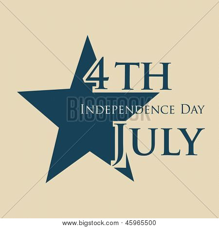 4th of July, American Independence Day with star on brown background. poster