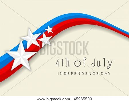 4th of July, American Independence Day national flag colors wave background with stars.