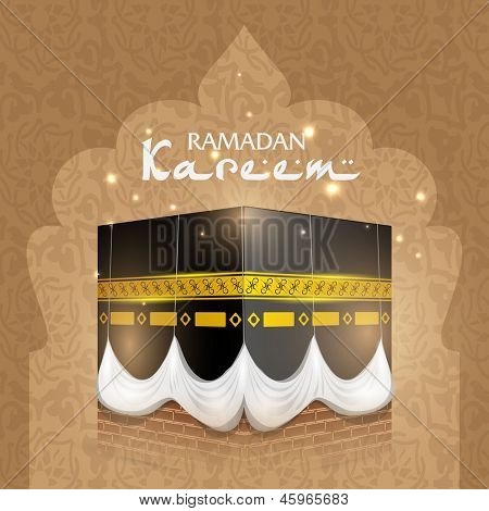 View of Qaba Shareef on abstract brown background with text Ramadan Kareem. poster