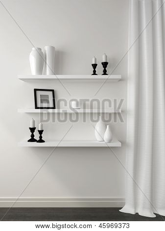 White Shelves And Curtain