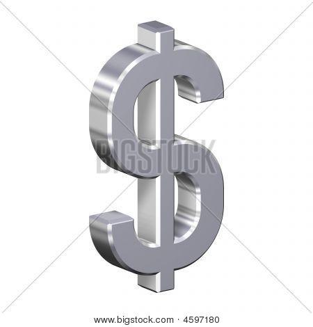 Chrome Dollarzeichen isoliert auf weiss