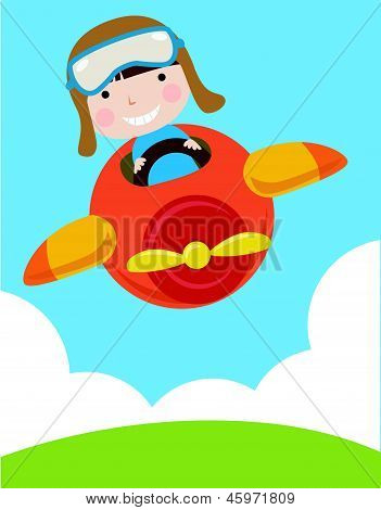 a cute boy flying a plane