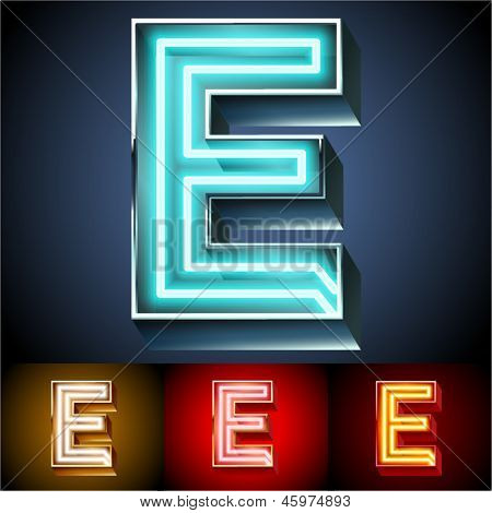Vector illustration of realistic neon tube alphabet for light board. Gold and Silver and Red options. Letter E