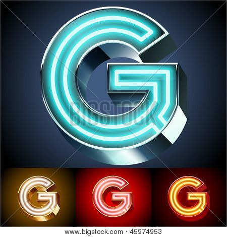 Vector illustration of realistic neon tube alphabet for light board. Gold and Silver and Red options. Letter G