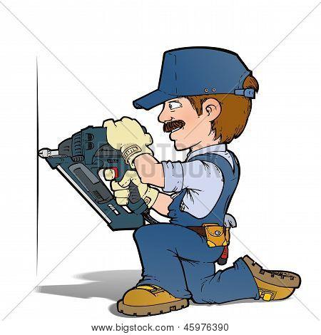 Cartoon illustration of a handyman nailing with a nailgun. poster
