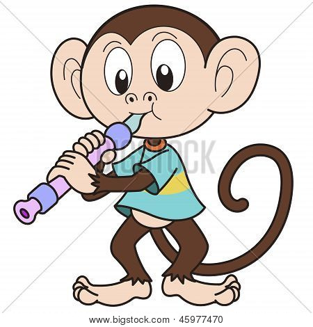 Cartoon Monkey Playing An Oboe