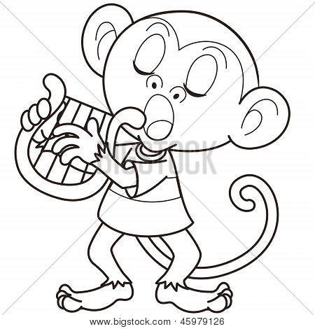 Cartoon Monkey Playing A Harp