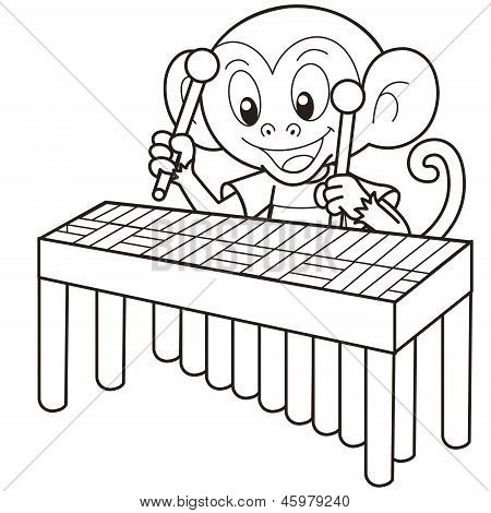 Cartoon Monkey Playing A Vibraphone