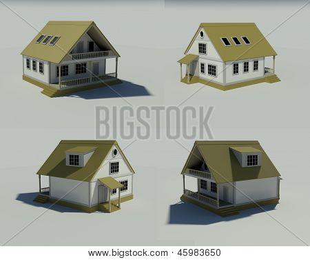 Haus isoliert auf weißem gerenderten generische