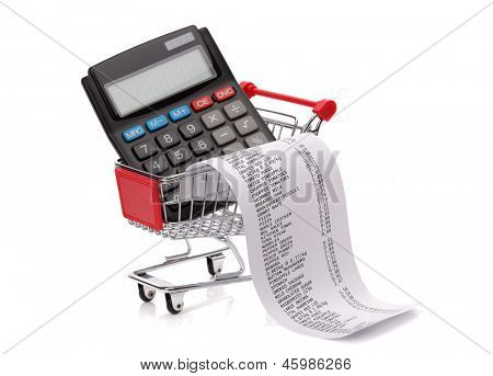 Shopping till receipt, calculator and cart concept for grocery expenses and consumerism