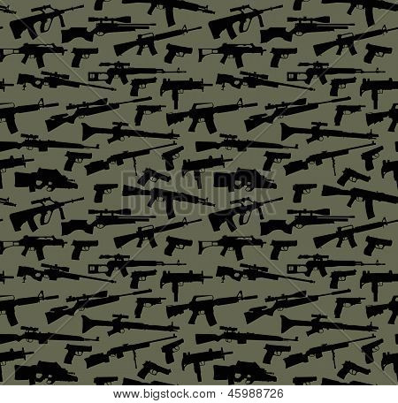 Weapon vector on a military seamless background poster