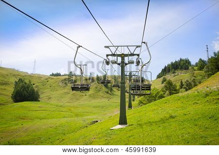 Empty Ski Resort Chairlift In Summer