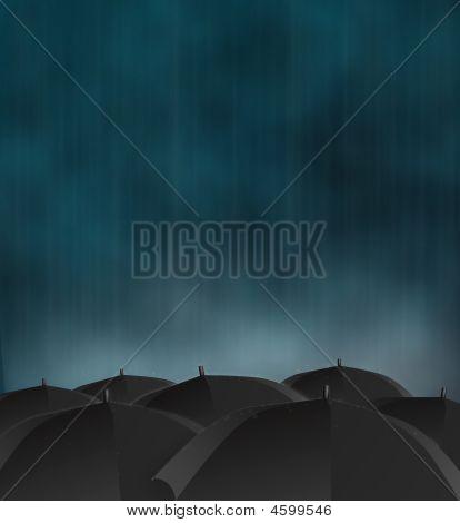 gloomy picture of dark rainy sky and black umbrellas poster