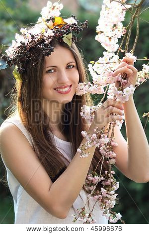 Portrait Of A Beautiful Nymph Among Cherry Flowers