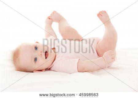 Bebê fofo, com lindos olhos azuis em fundo branco