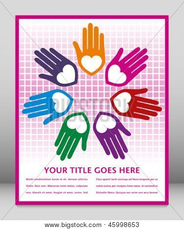 Colorful united loving hands design with space for your text.