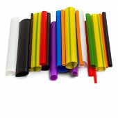 bright colored plastic tubes isolated on white background poster