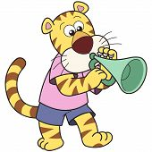 Cartoon tiger playing a trumpet. vector illustration with white poster