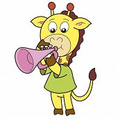 Cartoon giraffe playing a trumpet. vector illustration with white poster